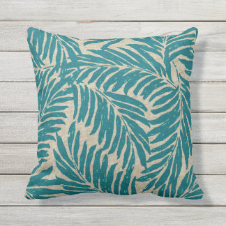 Kahanu Palms Hawaiian Linen Texture Throw Pillow