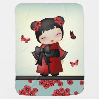 Kaiko the kokeshi doll baby blanket