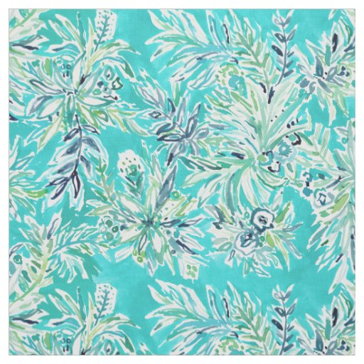 KAILUA CHILL Tropical Aqua Hawaiian Watercolor Fabric