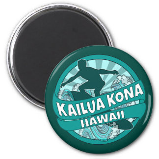 Kailua Kona Hawaii teal surfer logo magnet