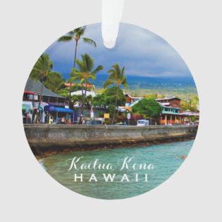 Kailua Kona Pier Hawaii 2 Photo & Text Ornament