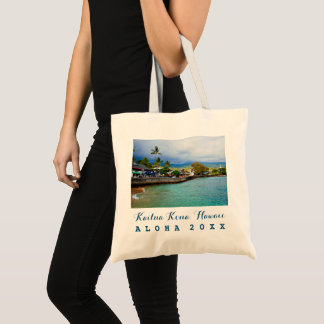 Kailua Kona Pier Hawaii Oil Paint Art Trip Year Tote Bag