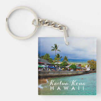 Kailua Kona Pier Hawaii Oil Paint Digital Art Double-Sided Square Acrylic Key Ring