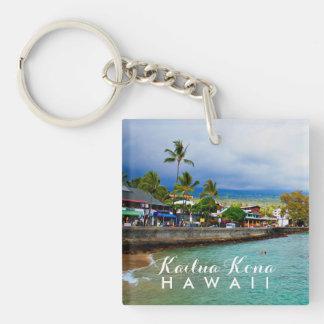 Kailua Kona Pier Hawaii Oil Paint Digital Art Key Ring