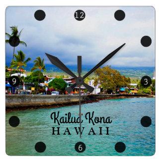 Kailua Kona Pier Hawaii Oil Paint Digital Art Square Wall Clock