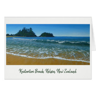 Kaiteriteri Waves Nelson New Zealand Painting Card