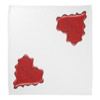 Kaitlin. Red heart wax seal with name Kaitlin Bandana