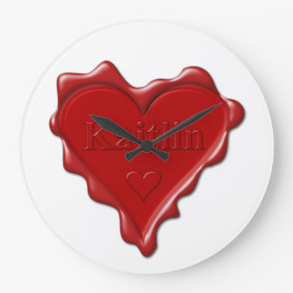 Kaitlin. Red heart wax seal with name Kaitlin Large Clock