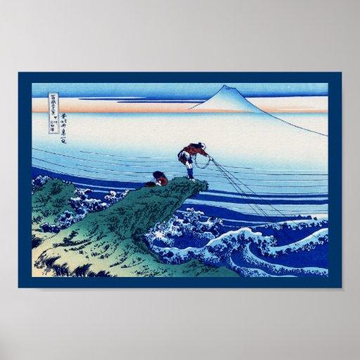 Kajikazawa in Kai Province Vintage Woodcut Posters