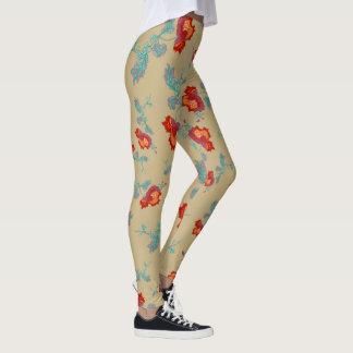 Kaki pants and peonies leggings