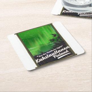 Kakslauttanen finland travel poster square paper coaster