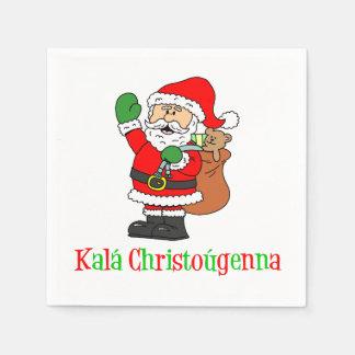 Kala Christougenna Greek Christmas Santa Napkins Disposable Serviette