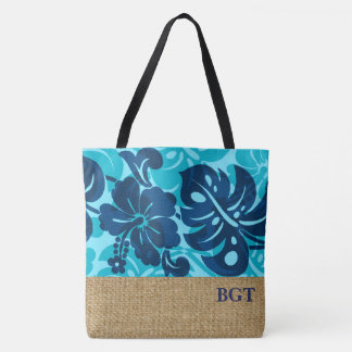 Kalakaua Hawaiian Hibiscus Monogram Beach Bag