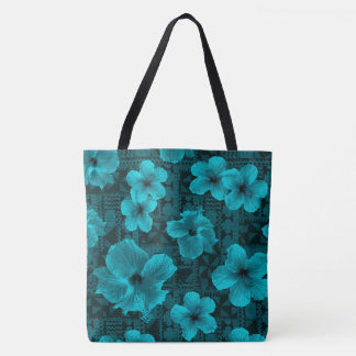 Kalalau Tapa Tropical Hawaiian Hibiscus Beach Bag