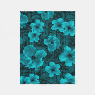 Kalalau Tapa Tropical Hawaiian Hibiscus Fleece Blanket