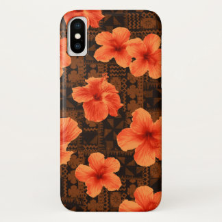 Kalalau Tapa Tropical Hawaiian Hibiscus iPhone X Case