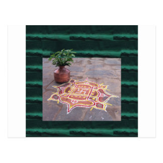 Kalas Vase swastika rangoli indian wedding Symbols Postcard