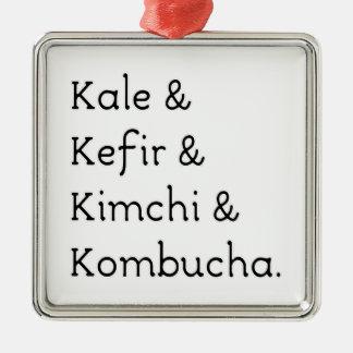 Kale Kefir Kimchi Kombucha Silver-Colored Square Decoration