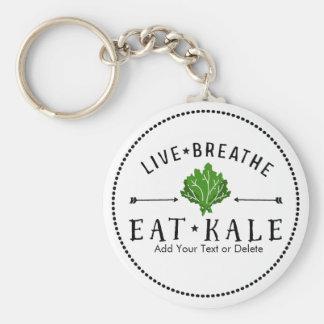 Kale Vegetarian Live Breathe Eat Kale Custom Key Ring