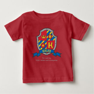 Kaleb K letter name meaning crest knights shield Baby T-Shirt