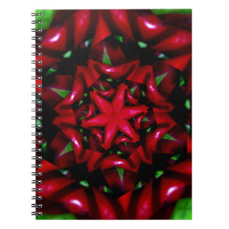 kaleido  flower green and red design notebook