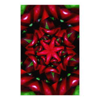 kaleido  flower green and red design stationery