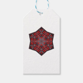 kaleido tribal design black and red gift tags