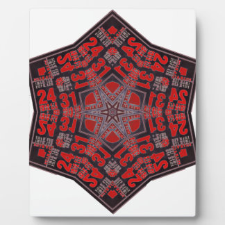 kaleido tribal design black and red plaque