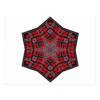 kaleido tribal design black and red postcard