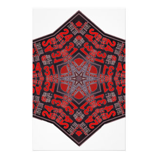 kaleido tribal design black and red stationery