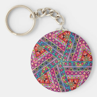 Kaleidoscope Aztec inspired pattern Keychain