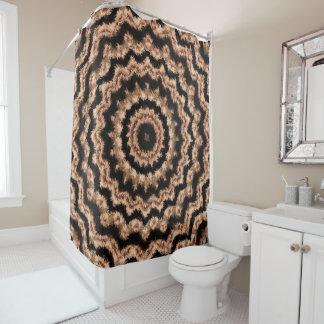 Kaleidoscope Beige Circular Pattern Shower Curtain