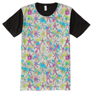 Kaleidoscope Block Print in Full Rainbow Mode All-Over Print T-Shirt