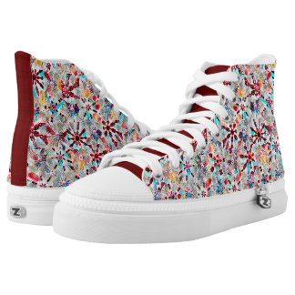 Kaleidoscope Block Print in Red Plus High Tops