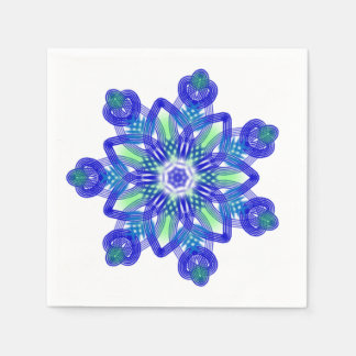 Kaleidoscope conflower blue paper napkin