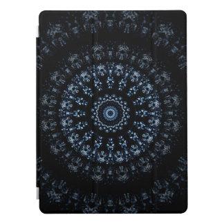 Kaleidoscope crystals mandala indigo blue on black iPad pro cover