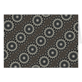Kaleidoscope Design Black Gray Blue White Art Card