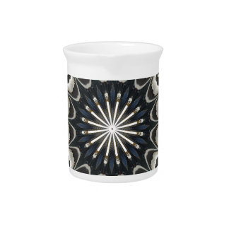 Kaleidoscope Design Black Gray Blue White Art Pitcher