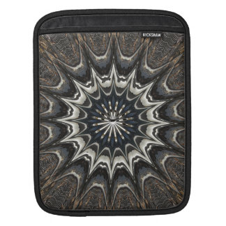Kaleidoscope Design Black Gray Blue White Art Sleeves For iPads