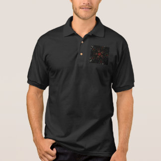Kaleidoscope Design Black Red Floral Pattern Polo Shirt