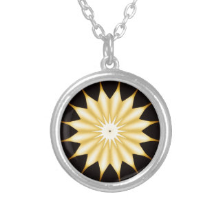 Kaleidoscope Design Bright Yellow Star Silver Plated Necklace