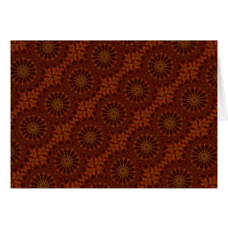 Kaleidoscope Design Dark Brown Floral Pattern Card
