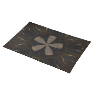 Kaleidoscope Design Dark Brown Rustic Art Placemats