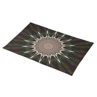 Kaleidoscope Design Dark Green Red Brown Placemat