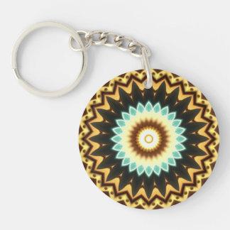 Kaleidoscope Design Double-Sided Round Acrylic Key Ring