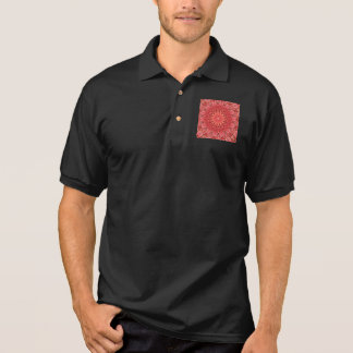 Kaleidoscope Design Floral Red Polo Shirt