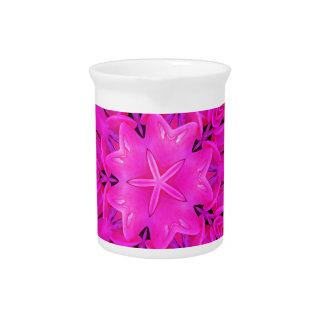 Kaleidoscope Design Hot Pink Floral Art Pitchers