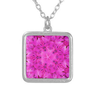 Kaleidoscope Design Hot Pink Floral Art Silver Plated Necklace