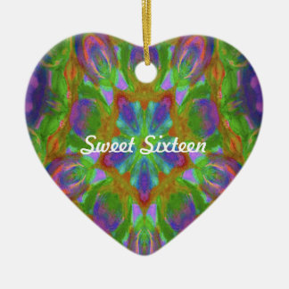 kaleidoscope design image Double-Sided heart ceramic christmas ornament