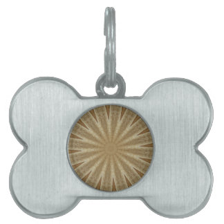 Kaleidoscope Design Light Brown Rustic Floral Pet ID Tag